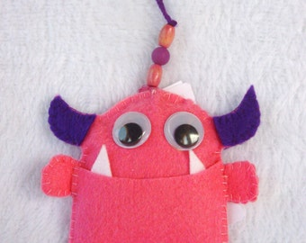 Worry eating monster handmade in Ibiza pink purple