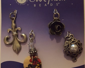 Metal and Wood Floral Charms