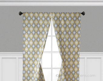 Yellow Curtains Gray Diamond Window Treatments Geometric Curtain Panels  Retro Home Decor Living Room Nursery Drapes