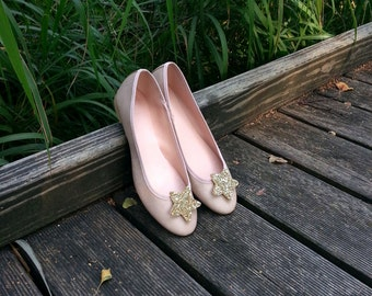 Gold glitter stars - shoe clips Manuu, Bridal shoe clips, Wedding shoe clips