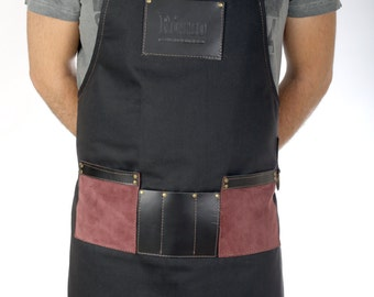 Barista apron, high quality leather & canvas, with pockets for tools, in many colors (black, blue, green, grey, blue white stripes) - Dylan