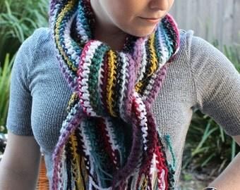 Handmade crochet stripe scarf