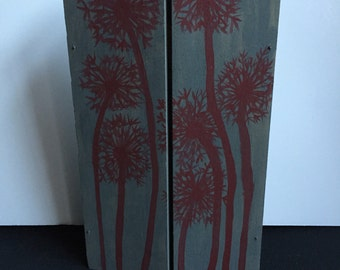Hinged Wood Triptych/Hand Painted Trifold Picture Holder