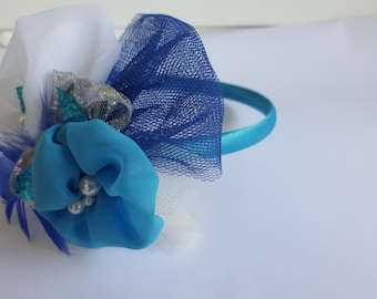 Kids headband - turquoise, hair accessory, girls headband, hand made, wedding hair band,.