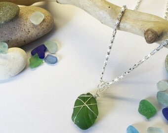Wire Wrapped Green Seaglass Bottleneck Pendant