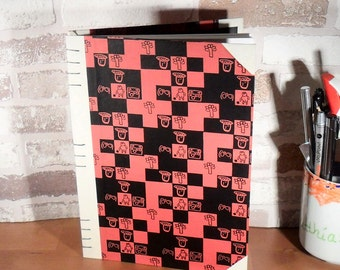 Diary A5 - mosaic red black / / notebook / / write / / memories / / gift