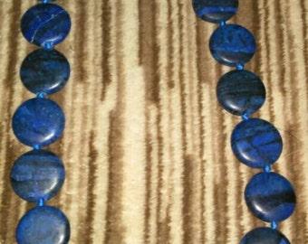 Round Blue Lapis Gemstone Necklace