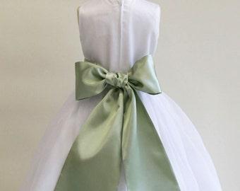 Buy 1 Get 1 Free Designer US Angels- LETTUCE-SAGE Satin Tapered Flower Girl Dress Sash