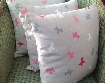 Clarke and Clarke Alfie Taupe, Westie Cushion, Scottie Cushion, Terrier Cushion, Dog Cushion with Pad and Concealed Zip