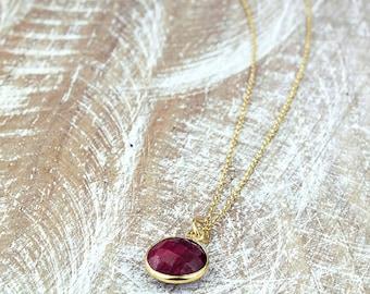 Ruby Necklace/Ruby Stone Necklace/July Birthstone/Genuine Ruby Necklace