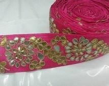 Pink Coloured Stone-Gota Patti Handmade Lace