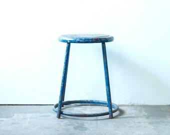 Blue Industrial Stool