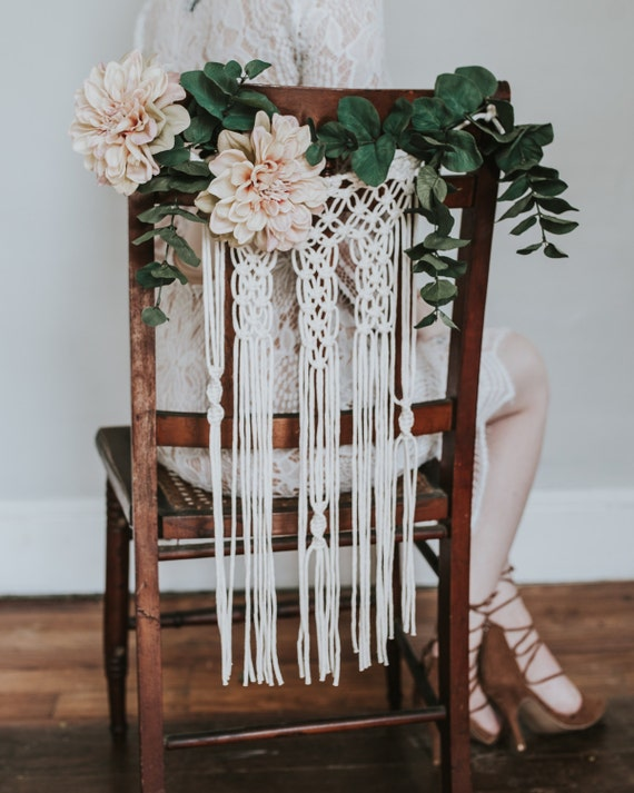 Bohemian Wedding • Macrame Chair Backs / Bride and Groom Chair