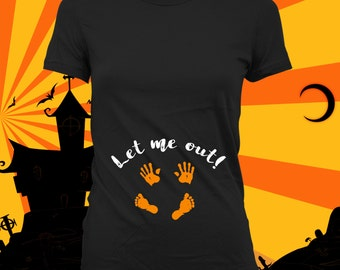 Let Me Out - pregnancy announcement shirt, maternity halloween, maternity costume, halloween baby announcement,not a maternity shirt-CCB-264