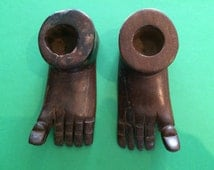 Hand Carved Feet African Tourist pieces, Rustic, Unusual. Upturned big Toes. Fun interesting talking point