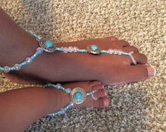 Mommy and Me Barefoot Sandals- Matching Barefoot Sandals- Ankle Jewelry- Foot Jewelry