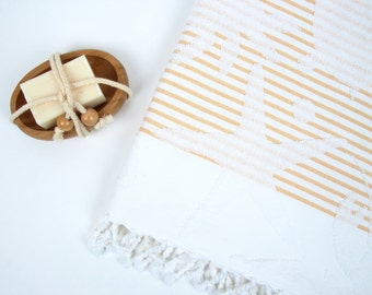 Striped Terry Turkish Bath Towel - %100 Natural Cotton - Striped Terry Peshtemal - Beach, Hammam, Bath Towel