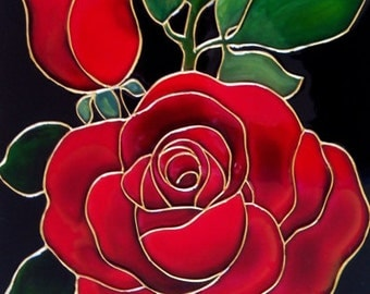 Red roses original Painted glass