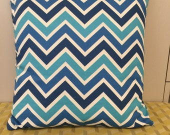 Sea Blue Chevron 16 x 16 pillow cover
