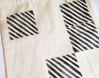 Handmade linocut print canvas bag