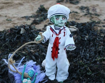 SALE! Zombie sailor doll with captive mermaid. Horror Doll, scary, dark gift,Gothic fun