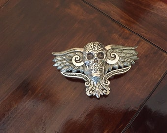 Buckle--Sterling Silver Winged Skull Buckle