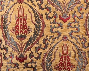 SALE!!!5 Meters,Yards,Tulips,Chenille,Jacquard, Ethnic,Tribal,Turkish,Ottoman Chenille Upholstery Fabric, Velvet Fabric,,Mustard