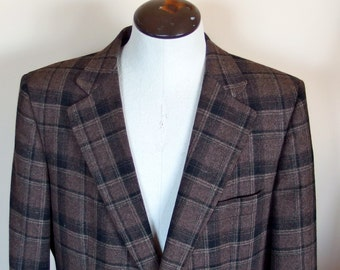 Mens Designer Vintage Lanvin Plaid Wool Jacket Size 40