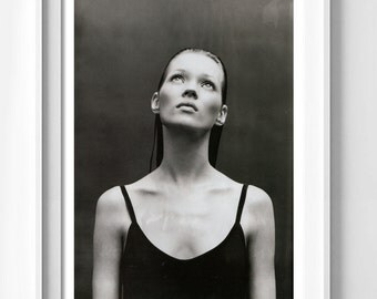 Poster poster gloss of Kate moss book by patrick demarchelier, feminine and original decoration for the House.