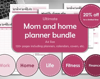 Mom planner kit, home planner bundle, printable. Home management binder, A4 size. Family organized. Life, Fitness and Finance log. 20% OFF.