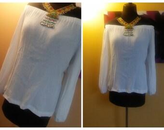 Off shoulder blouses-bardot neckline- Sumner tunic
