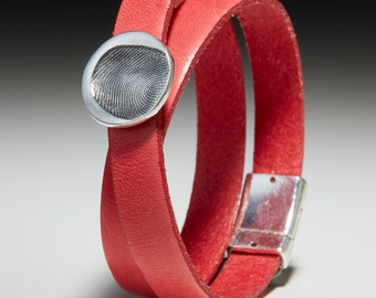 Wrap leather bracelet with fingerprint-nugget