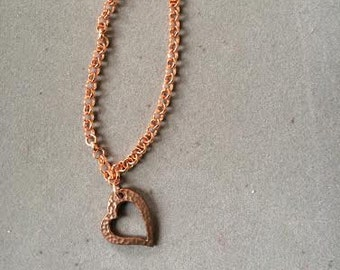 Copper Bracelet with Copper Heart Charm