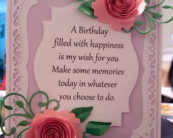 handmade birthday card,birthday card, special occasion cards, paper rose cards,lavender and pink card, cards for her