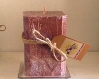 "Squared Corners Palm Wax 9"" Candle"