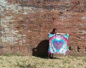 Heart tye dye soft swaddle baby blanket