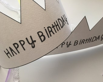 Happy Birthday Crown, Birthday Party Crown, Party Hat, Watercolor Paper Birthday Crown, Birthday Tiara