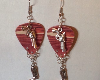 Wood Grain Guitar Pick Earrings