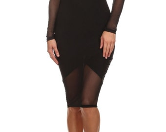 Solid Color, Knee Length, Round Neck, Low Back, Long Sleeve Dress with Mesh Details