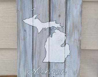 Michigan // State of Michigan // Wood Sign // Distressed Sign // Handmade