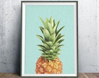 Impression de l'ananas, 8 x 10, décor Tropical, Blue Art mural, fruits tropicaux Pintable, les filles chambre Wall Art, Pop Art Illustration, impression numérique