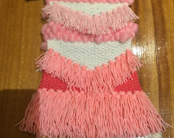 Handmade pink and white weave
