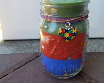 Autism Awareness! Scented Mason Jar Candle