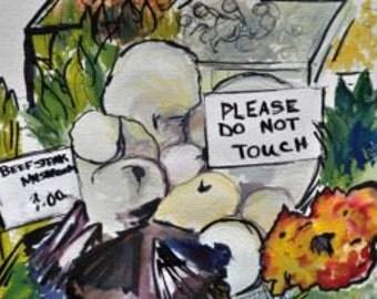 Do Not Touch Borough Market  Watercolor Print
