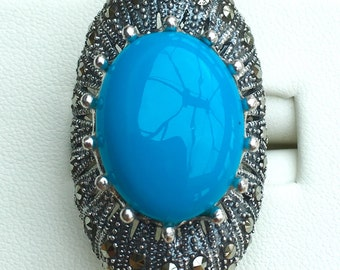 Turquoise & marcasites 925 silver ring