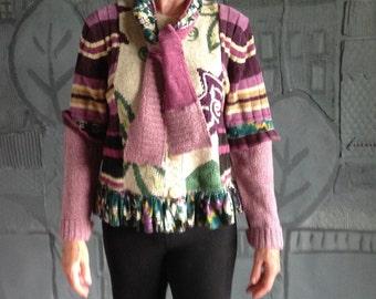 Handmade Upcycled Cardigan /Size M