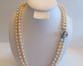 Vintage Hand Knotted Double Strand Faux Pearls With Great Clasp