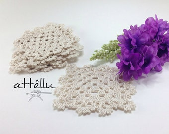 Coasters Set Squared Ecru Crochet 6 units / 100% cotton