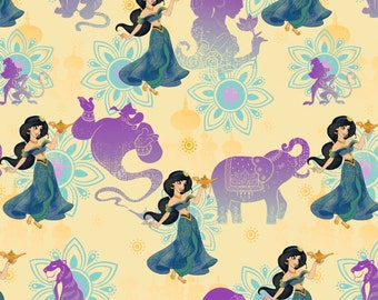 Disney Fabric, Princess Fabric: Aladdin Princess Jasmine Holding Lamp with Genie and Abu Monkey 100% cotton Fabric by the yard SC512