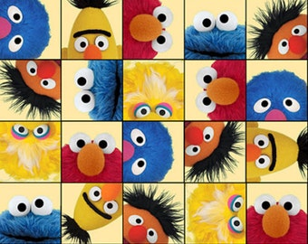 "Sesame Street Cartoon Fabric: Elmo & Friends characters toss  100% cotton Fabric By The Yard 43"" x 36"" (K26)"